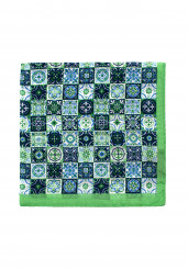 GREEN PATTERN COTTON SILK POCKET SQUARE