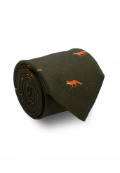 GREEN FOX SILK TIE