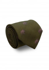 GREEN BOAR SILK WOOL TIE