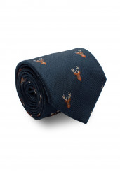 BLUE DEER SILK WOOL TIE