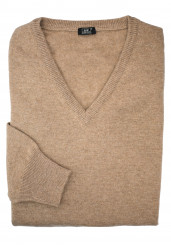 BEIGE CASHMERE V-NECK SWEATER