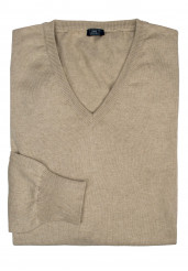BEIGE COTTON-CASHMERE V-NECK SWEATER