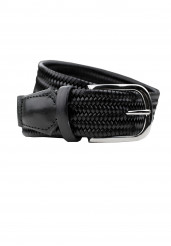 BLACK BRAIDED LEATHER STRETCH BELT