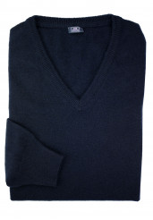 BLUE CASHMERE V-NECK SWEATER