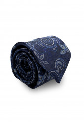 NAVY BLUE FLOWER SILK TIE