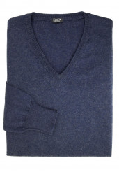 BLUE COTTON-CASHMERE V-NECK SWEATER