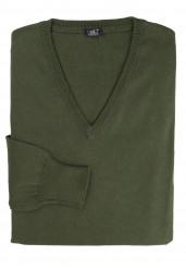 GREEN COTTON-CASHMERE V-NECK SWEATER