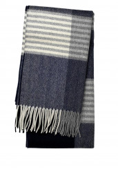 GREY NAVY WOOL CASHMERE SCARF