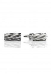 GROOVED CHROME CUFF LINK