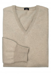 NATURAL BEIGE V-NECK CASHMERE SWEATER