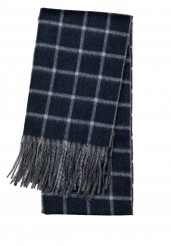 NAVY BLUE CHECK CASHMERE SCARF