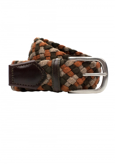 BROWN BRAIDED WOOL BELT