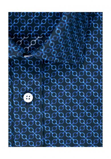 NAVY BLUE PATTERN PRINTED POPLIN