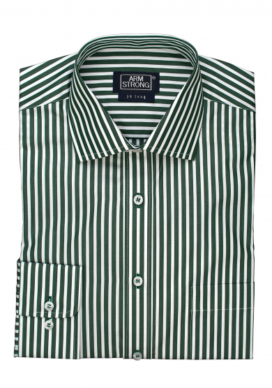 GREEN STRIPE POPLIN
