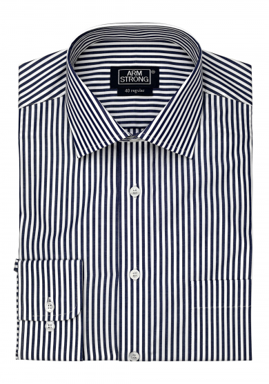 DARK NAVY STRIPE POPLIN