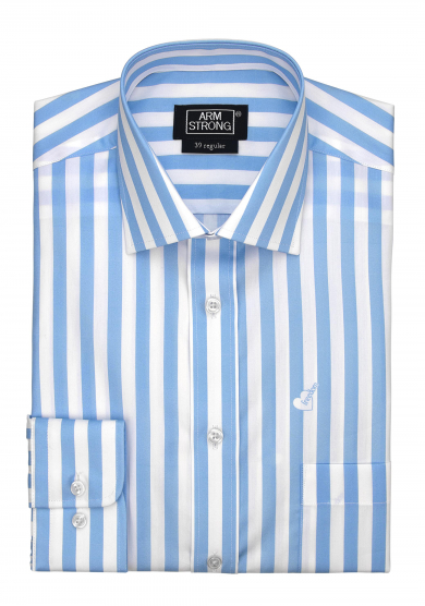 LIGHT BLUE STRIPE PRINTED POPLIN