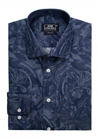 GREY NAVY PRINTED POPLIN