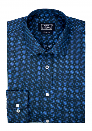 NAVY BLUE PATTERN PRINTED POPLIN