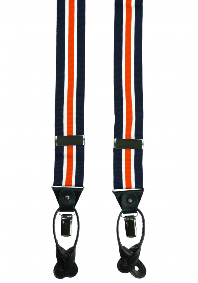 NAVY ORANGE STRIPE SUSPENDERS