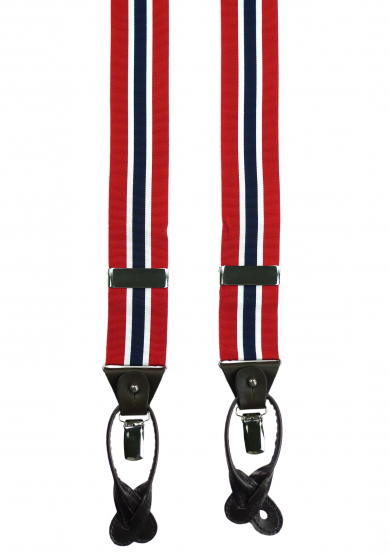 RED NAVY STRIPE SUSPENDERS