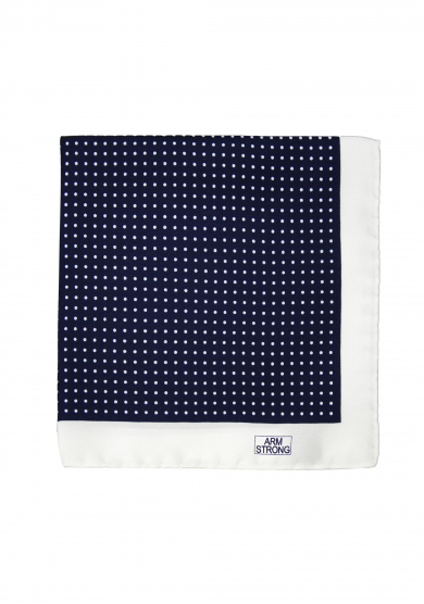 NAVY WHITE DOT SILK POCKET SQUARE