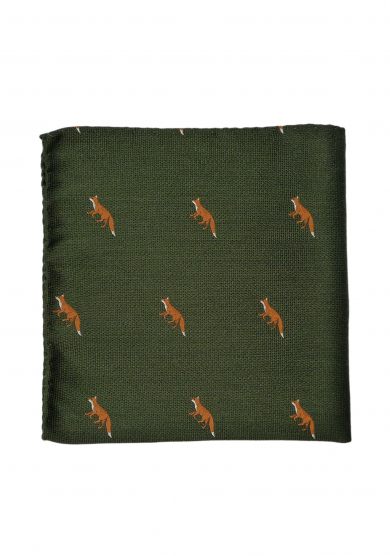 GREEN FOX POCKET SQUARE