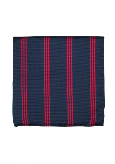 NAVY RED STRIPE POCKET SQUARE