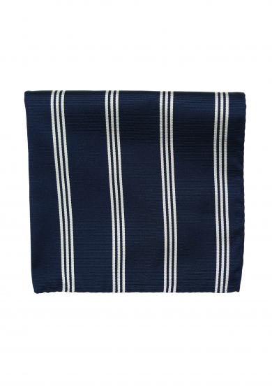 NAVY WHITE STRIPE POCKET SQUARE