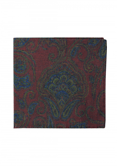DARK RED BIG PAISLEY POCKET SQUARE