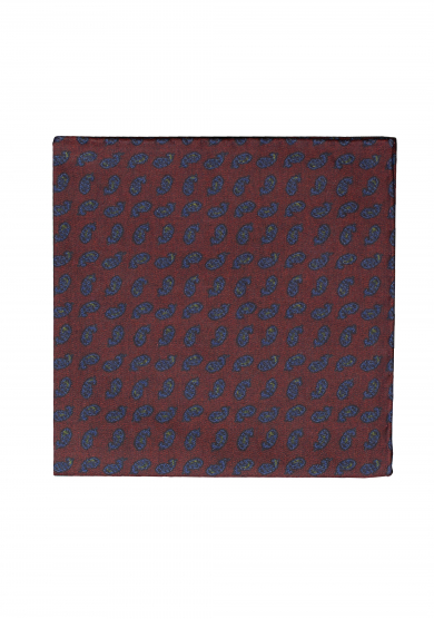 DARK RED PAISLEY POCKET SQUARE