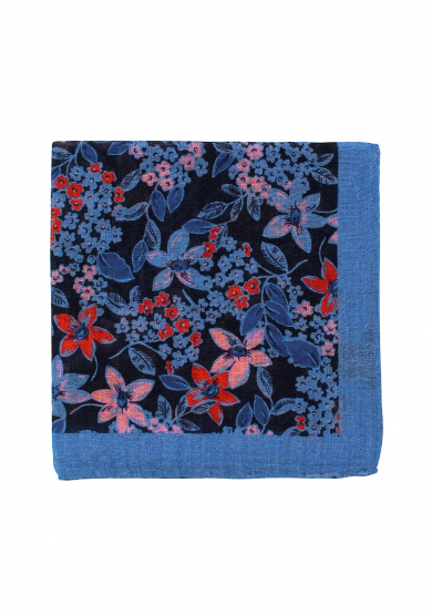 BLUE RED FLOWER POCKET SQUARE