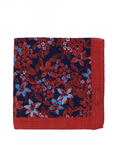 RED BLUE FLOWER POCKET SQUARE