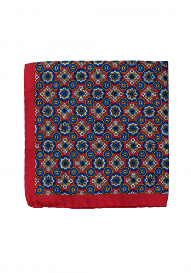 RED PATTERN POCKET SQUARE