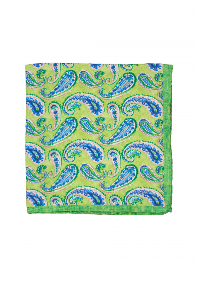 GREEN PAISLEY POCKET SQUARE