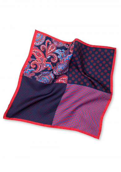 RED PATCHWORK POCKET SQUARE