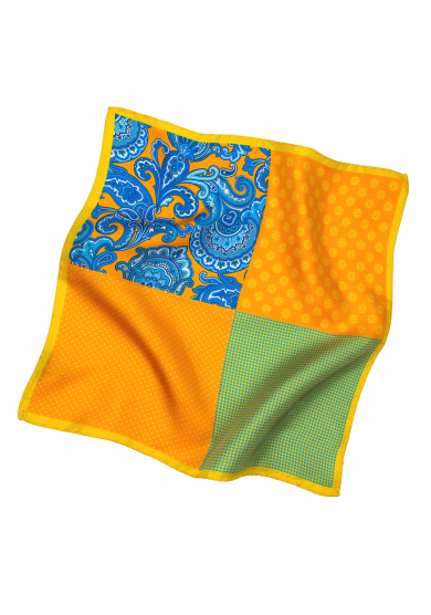 YELLOW PATCHWORK POCKET SQUARE