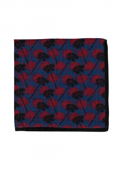 NAVY RED DANDELION POCKET SQUARE