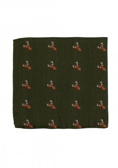 GREEN DEER POCKET SQUARE