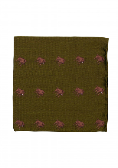 GREEN BOAR POCKET SQUARE