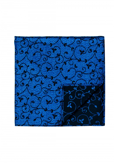 BLUE NAVY FLOWER PATTERN GLITTER POCKET SQUARE