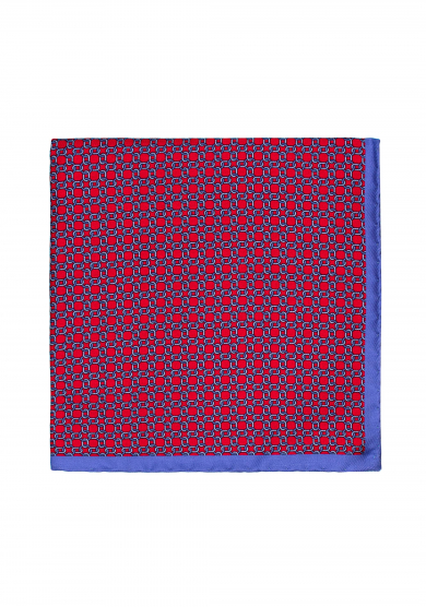 RED PRINTED SILK POCKET SQUARE