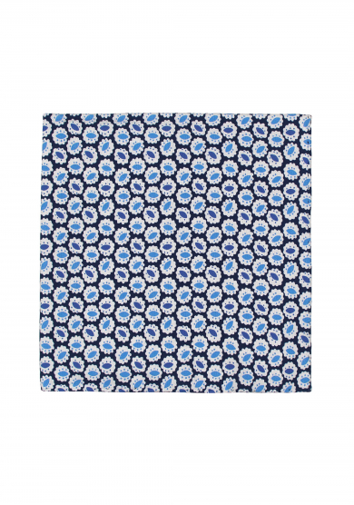 BLUE PATTERN SILK POCKET SQUARE