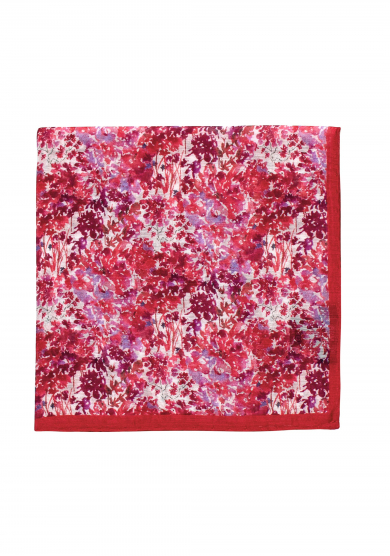 RED FLOWER COTTON SILK POCKET SQUARE