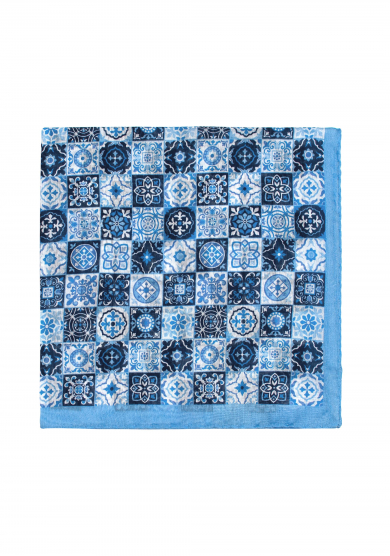 BLUE PATTERN COTTON SILK POCKET SQUARE