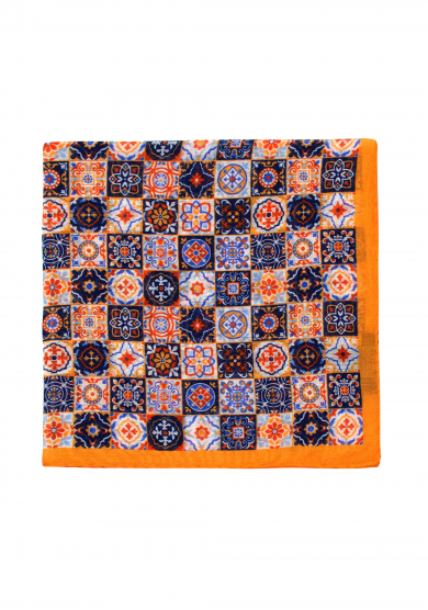 ORANGE PATTERN COTTON SILK POCKET SQUARE