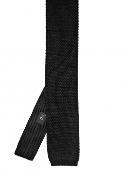 BLACK SOLID WOOL TIE