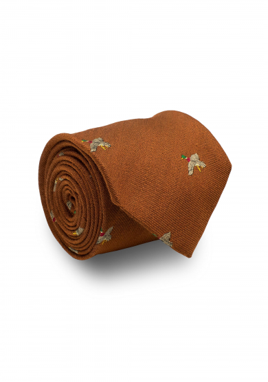 ORANGE MALLARD SILK WOOL TIE