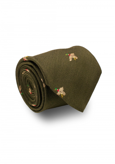 GREEN MALLARD SILK WOOL TIE