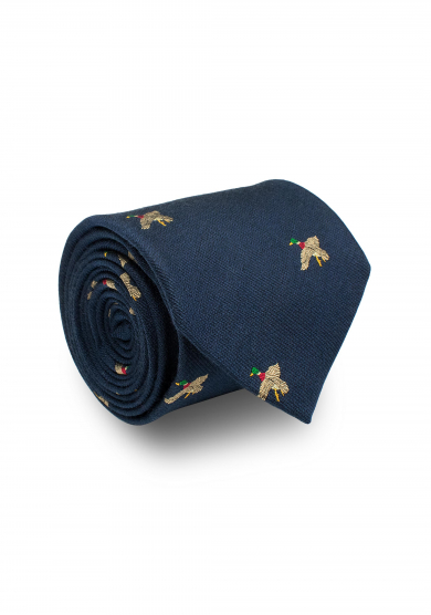 BLUE MALLARD SILK WOOL TIE