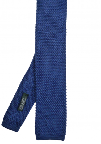 BLUE SOLID WOOL TIE
